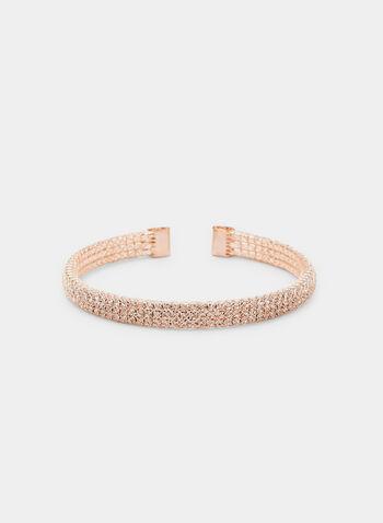 Crystal Embellished Cuff Bracelet, Pink, hi-res