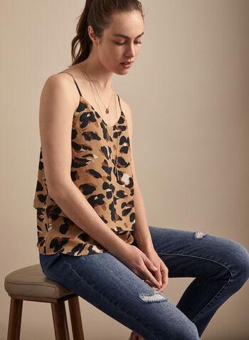 Tiered Leopard Print Cami, Multi,  top, cami, leopard, spaghetti straps, v-neck, spring summer 2020