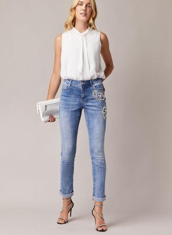 Jeans étroit à perles et cristaux, Bleu,  jeans, étroit, délavé, cristaux, perles, poches, usé, printemps été 2020