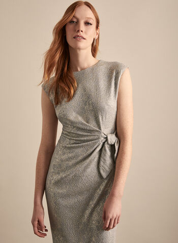 Maggy London - Tie Detail Metallic Dress, Gold,  dress, sheath, metallic, sparkle, cocktail, cap sleeves, tie, spring summer 2020