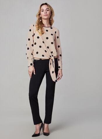 Long Sleeve Polka Dot Print Blouse, Multi,  crew neck, polka dot print, polka dots, long sleeves, blouse, top, tie, fall 2019, winter 2019