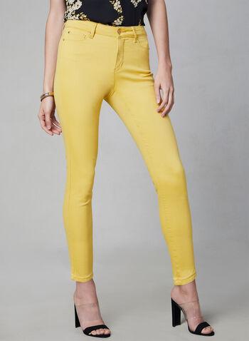 Jean à jambe étroite , Jaune, hi-res,  denim, pantalon, 5 poches, printemps été 2019