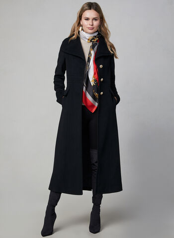 Karl Lagerfeld Paris - Military Wool Coat, Black,  coat, wool, wool coat, long coat, designer coat, button coat, karl lagerfeld, winter 2019, fall 2019