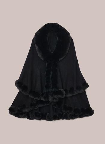 Faux Fur Cape Style Poncho, Black,  poncho, fur, cape, fall winter 2020