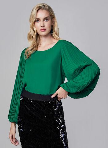 Blouse à manches plissées, Vert,  blouse, manches ballon plissées, crêpe, col dégagé, automne hiver 2019