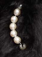 Écharpe simili fourrure avec passant de perles, Noir, hi-res