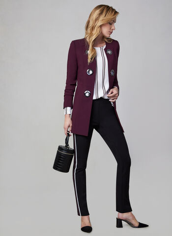 Eyelet Detail Redingote Jacket, Purple, hi-res,  long jacket, long sleeves, metallic details,