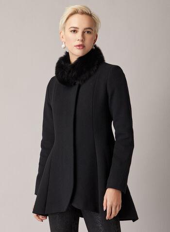Mallia - Fur Collar Flared Coat, Black,  coat, wool, cashmere, fur, stand collar, tailored, flared, fall winter 2020