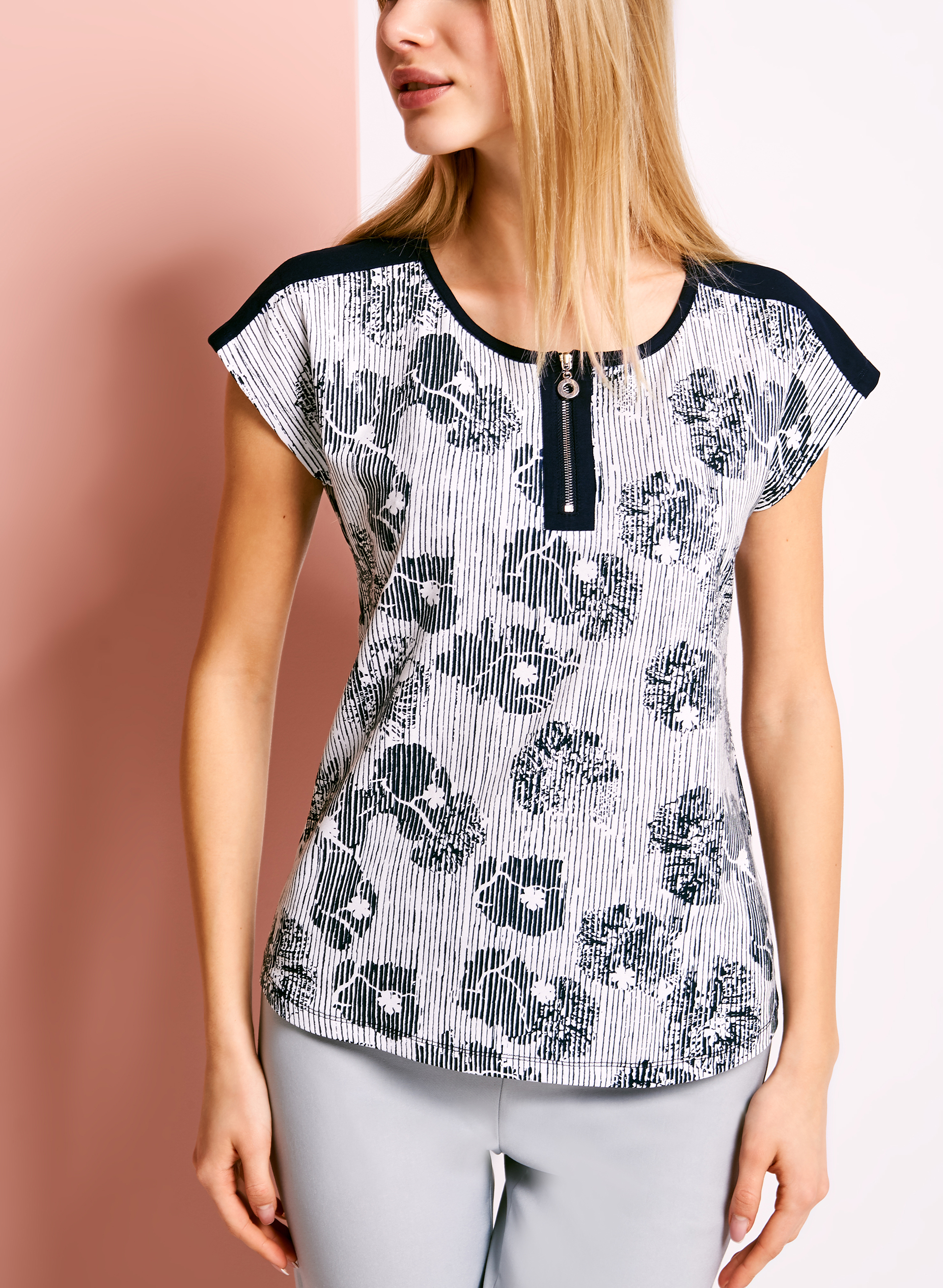 Zipper Trim Abstract Floral Print T-Shirt, Blue, hi-res