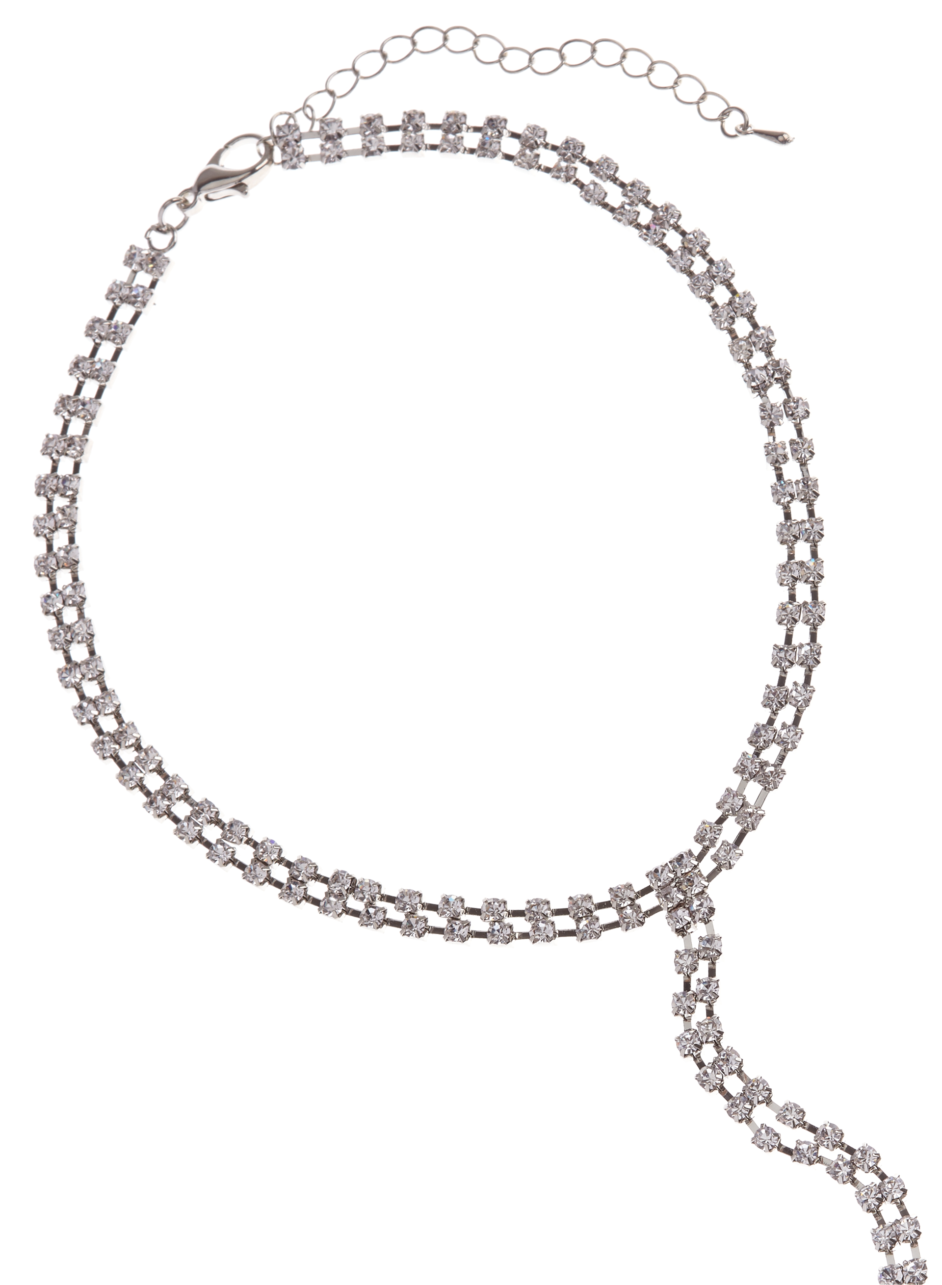 Crystal Choker Necklace, Silver, hi-res