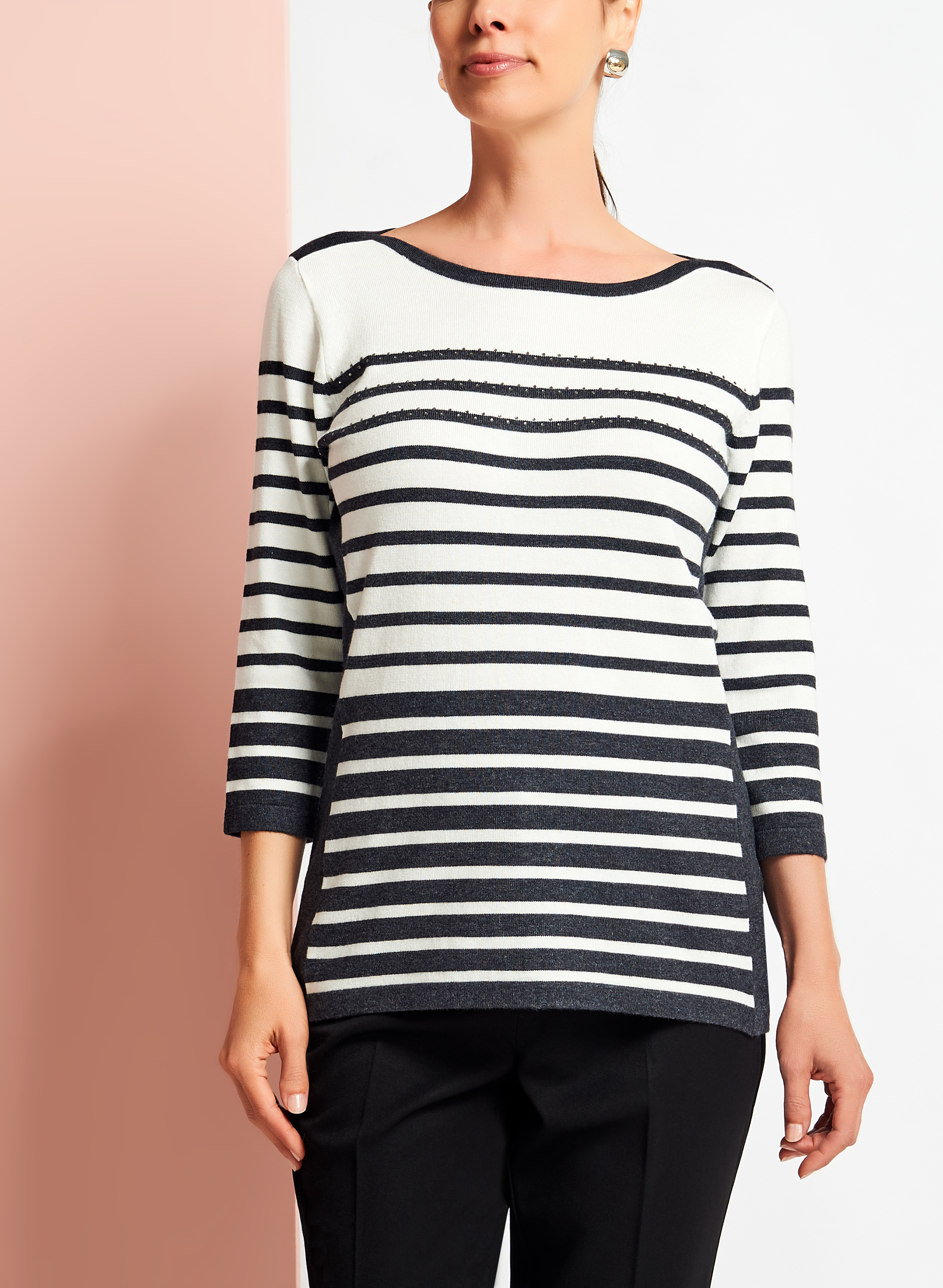Embellished Stripe Print Sweater, Grey, hi-res