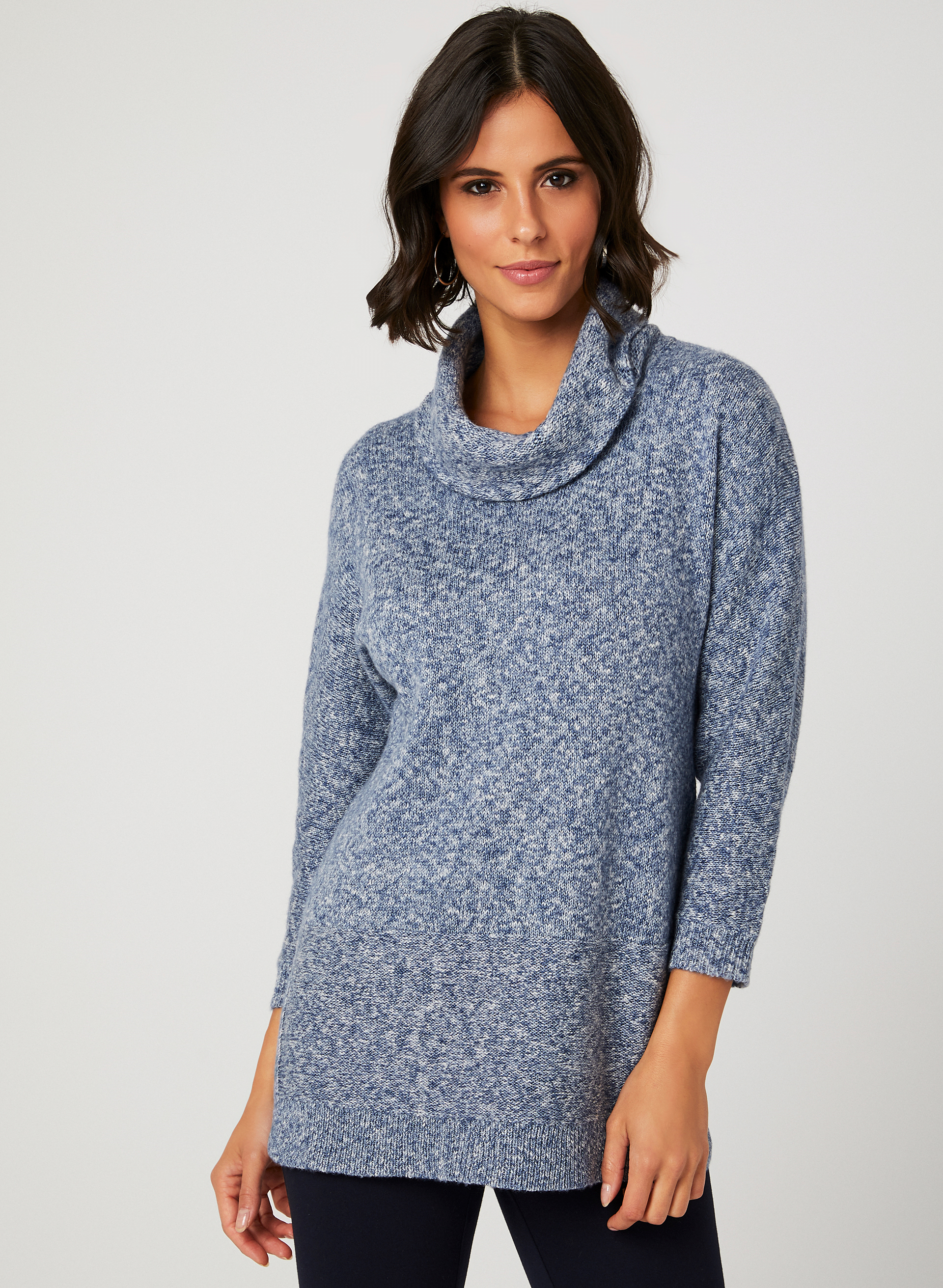 Heather Knit Cowl Neck Sweater Laura