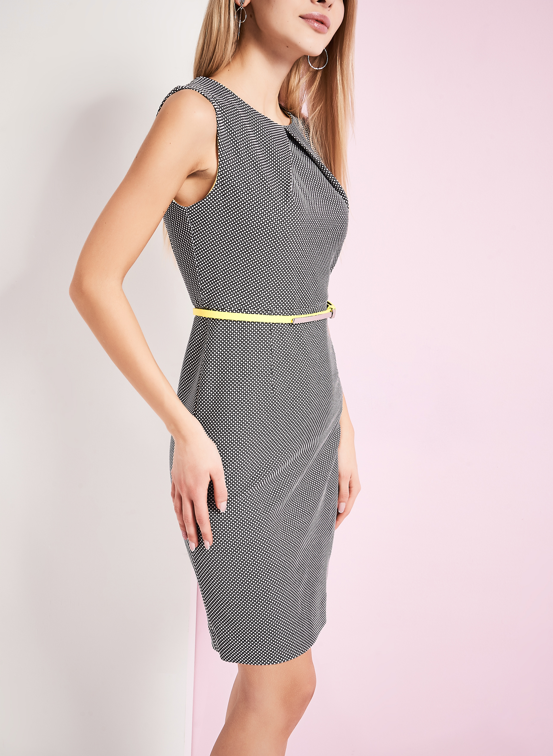 Dot Print Belted Dress, Black, hi-res