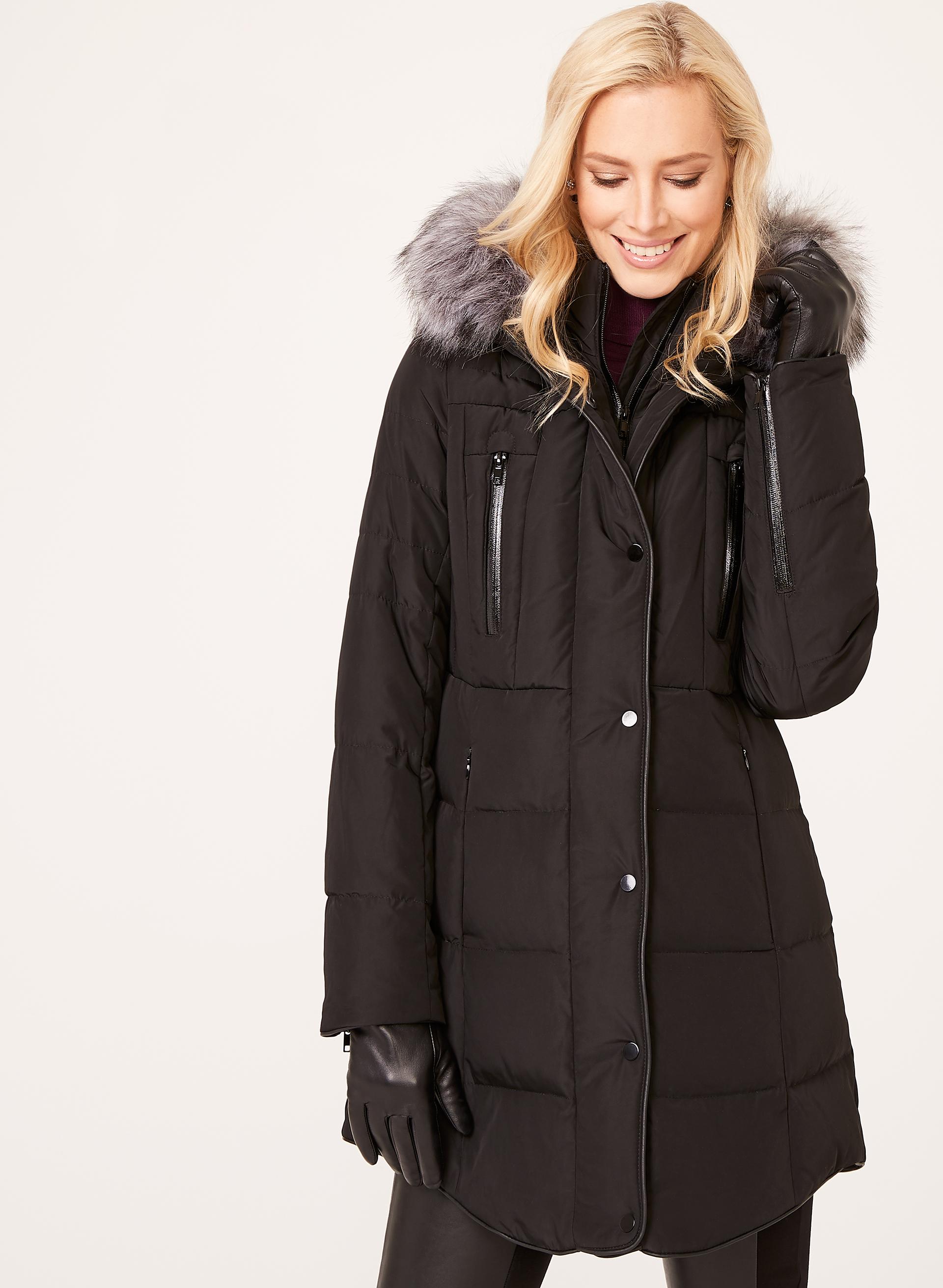 Faux Leather Trim Down Coat Laura