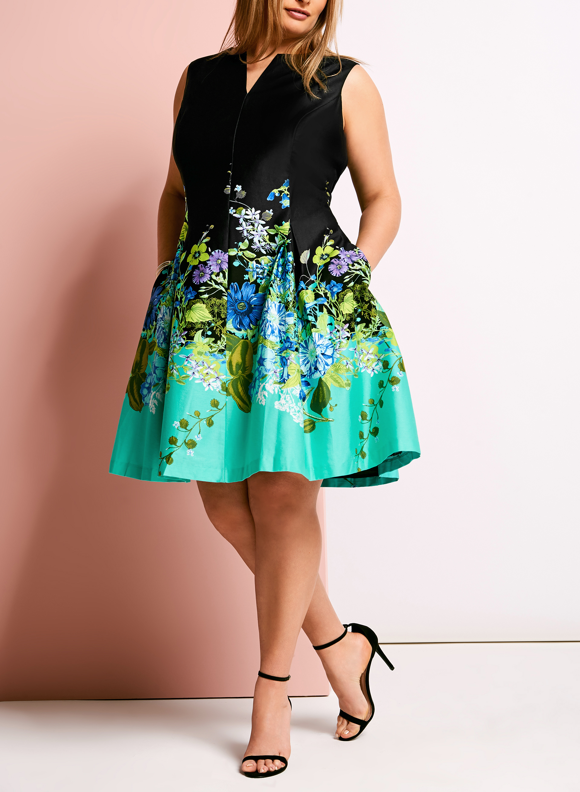 Floral Fit Amp Flare Cotton Dress Free Shipping Laura