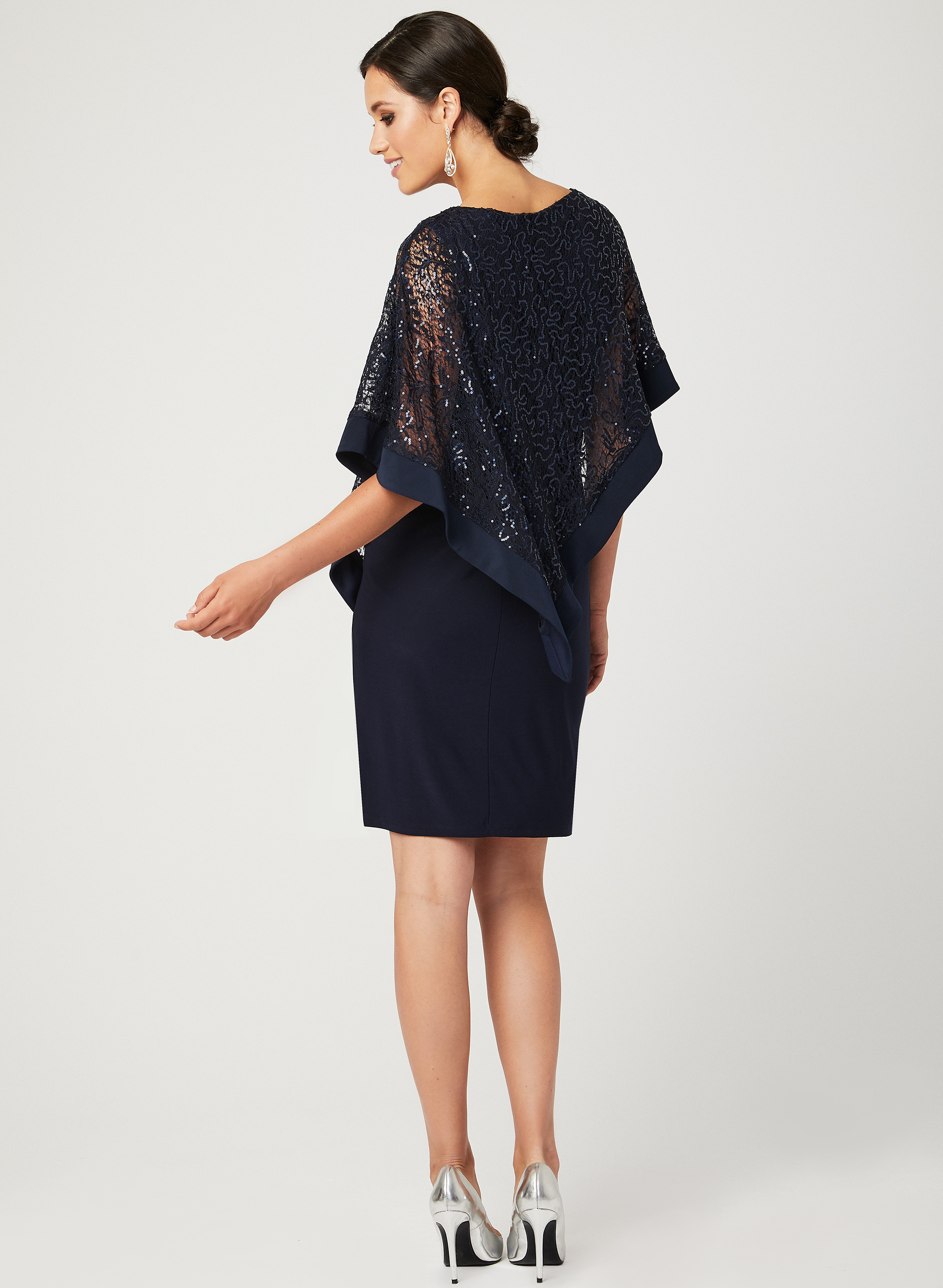 Sequin Lace Poncho Dress | Laura