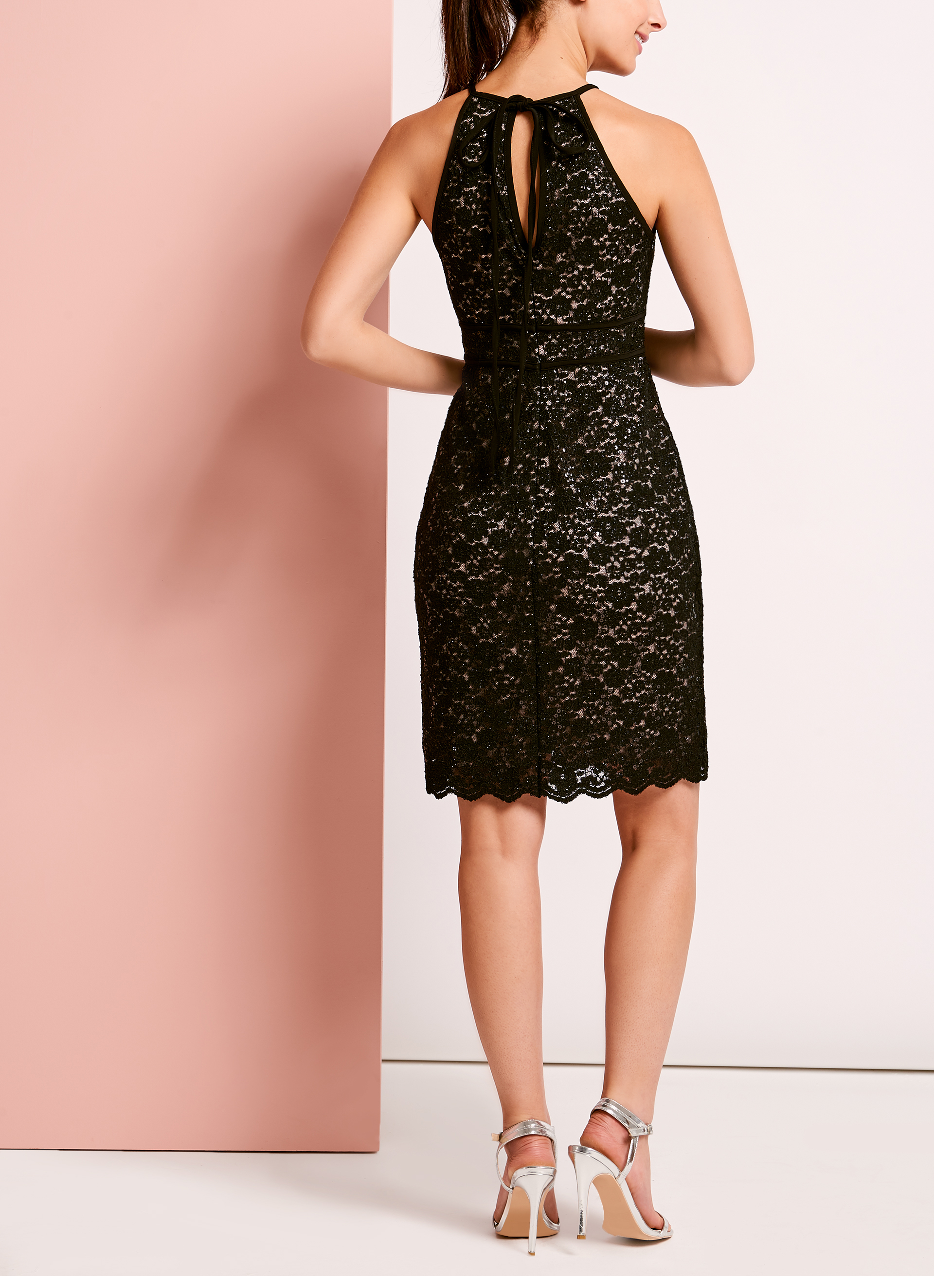 Glitter Lace Keyhole Dress, Black, hi-res