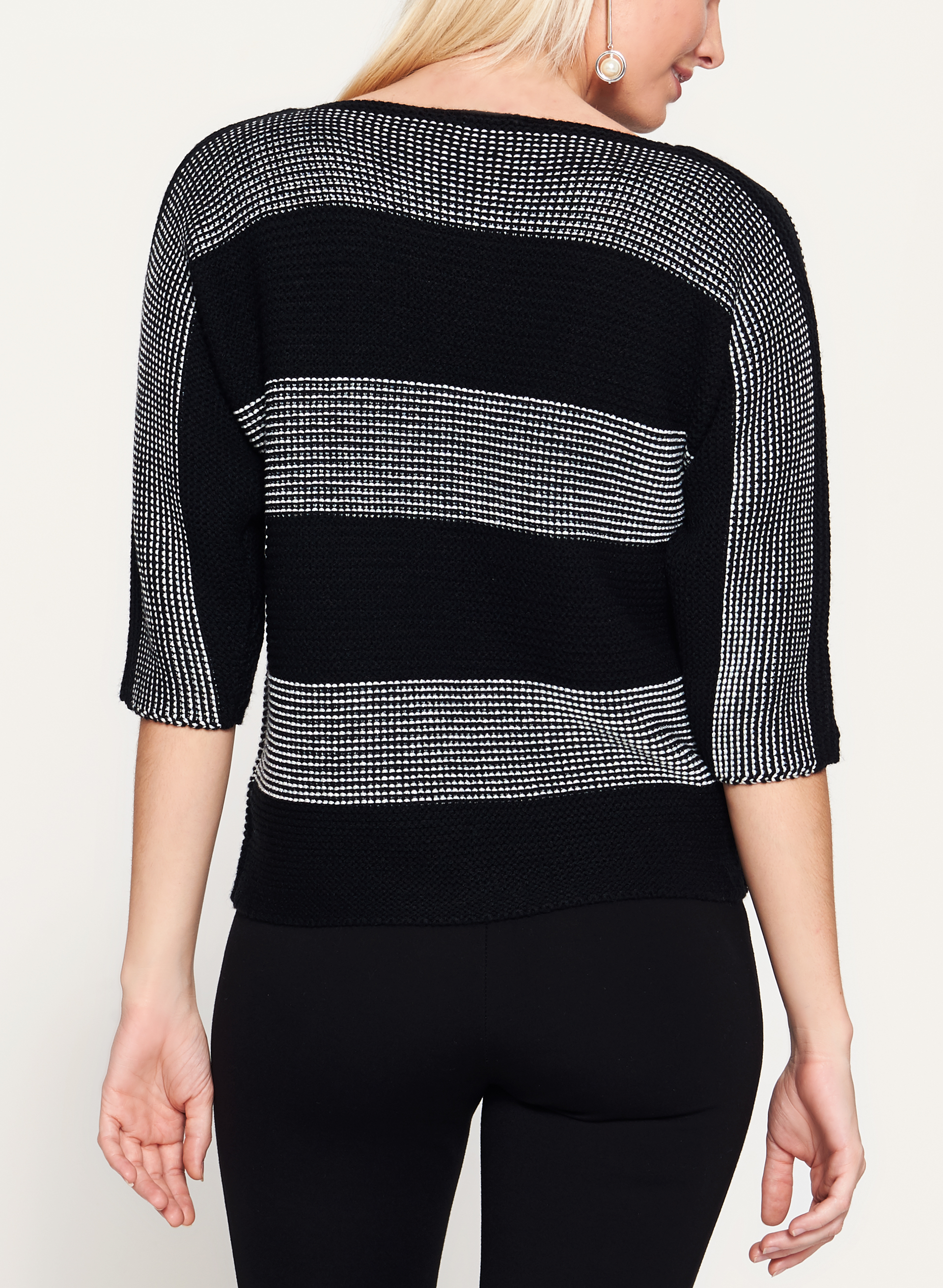 3/4 Sleeve Stripe Print Double Knit Sweater, Black, hi-res