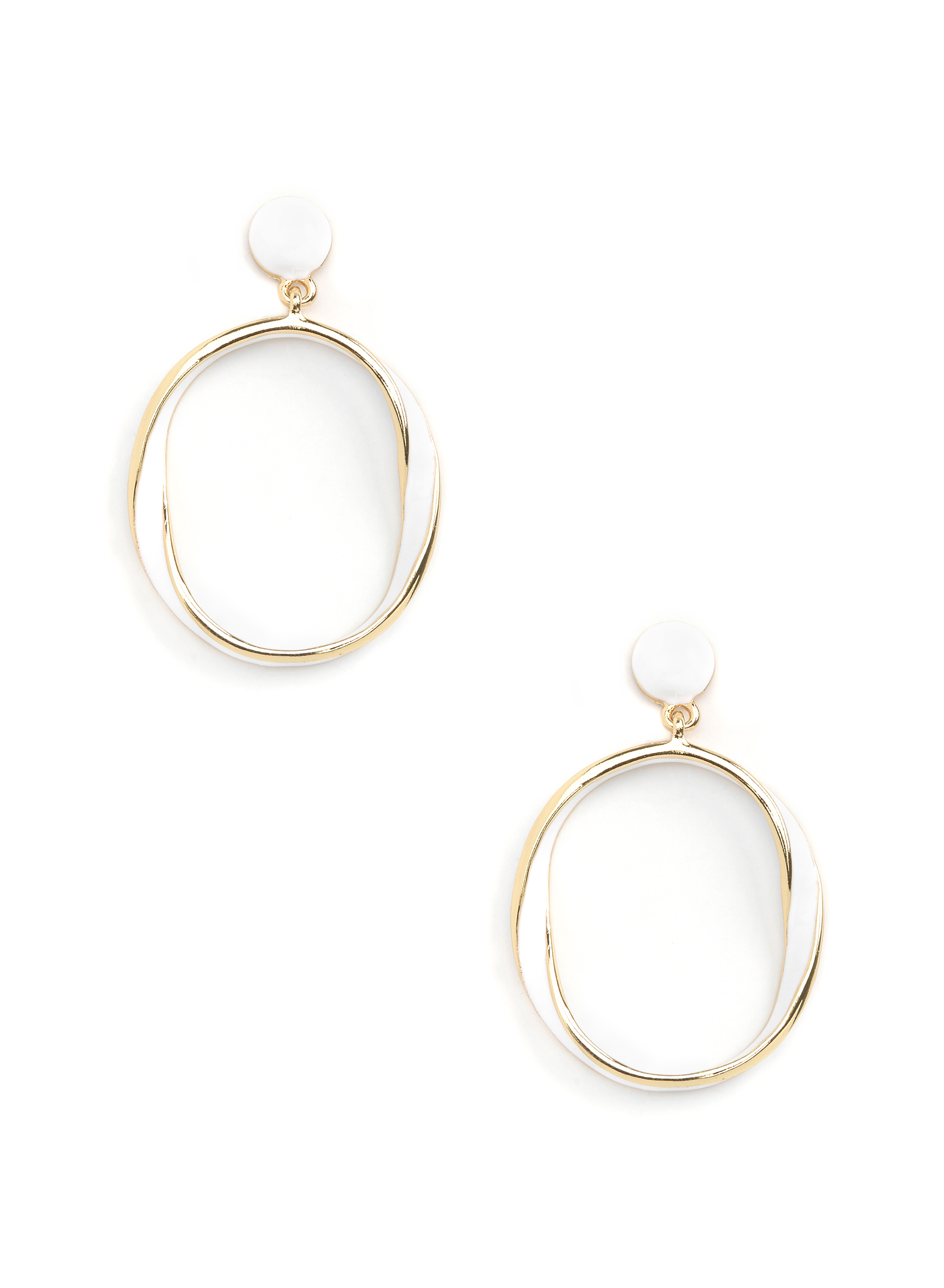 Open Circle Earrings, White, hi-res