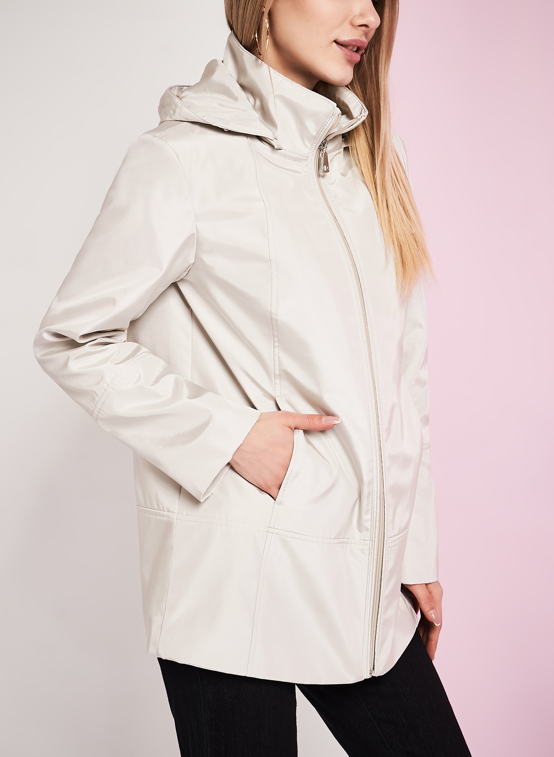 Novelti Iridescent A-Line Coat, Off White, hi-res