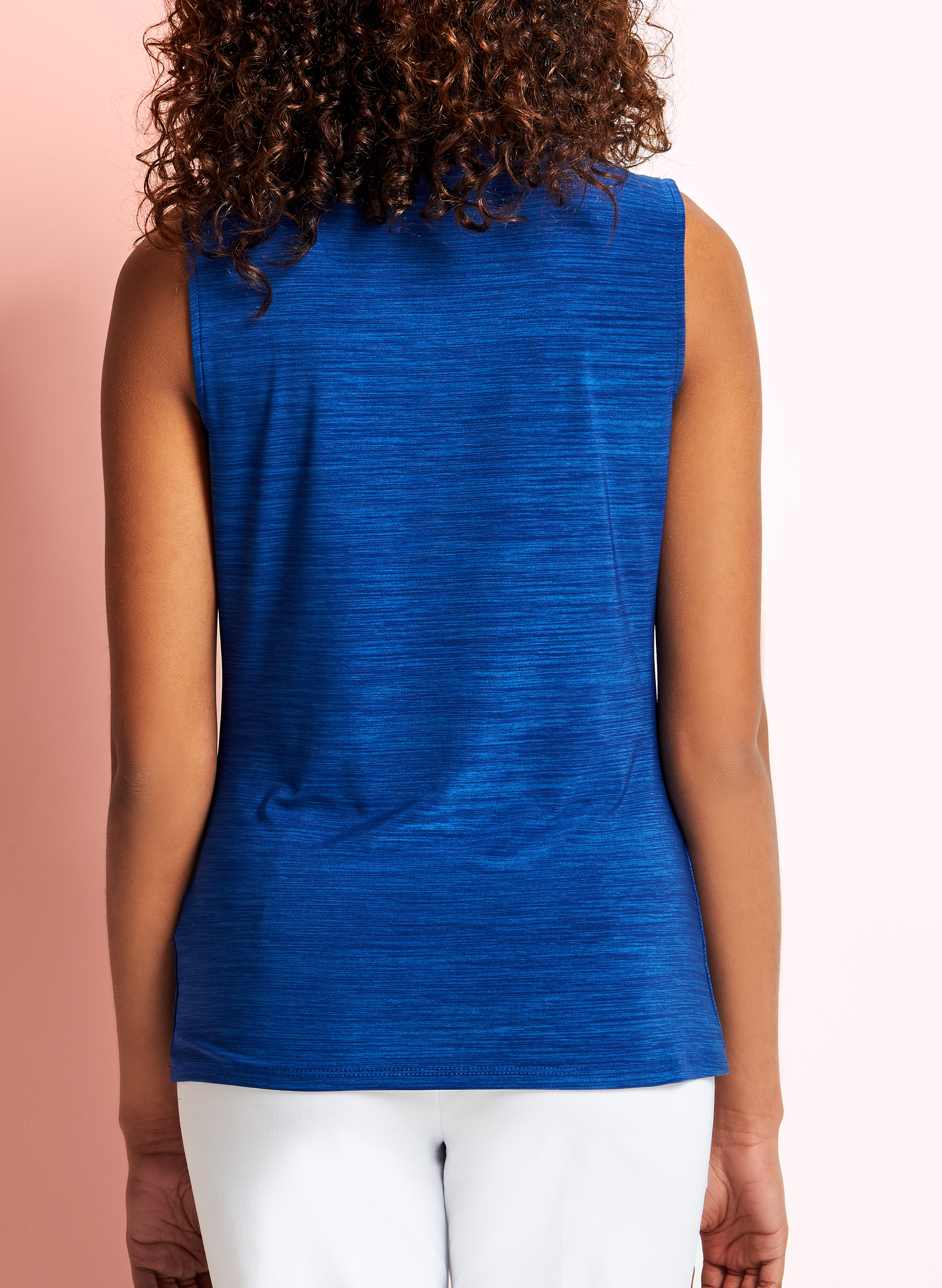 Sleeveless Embellished Knotted Top, Blue, hi-res