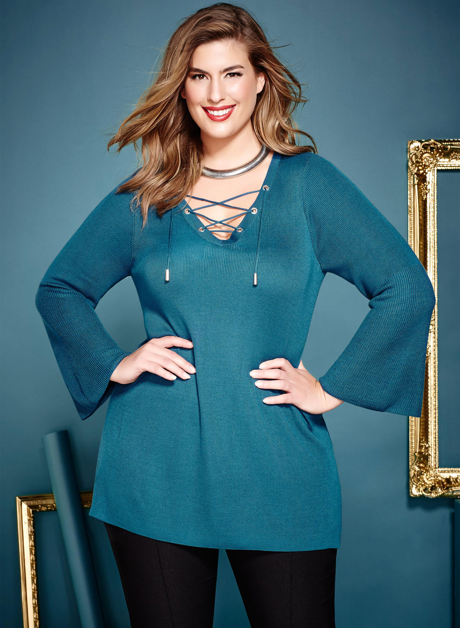 Double Knit Lace Up Tunic Sweater, Blue, hi-res