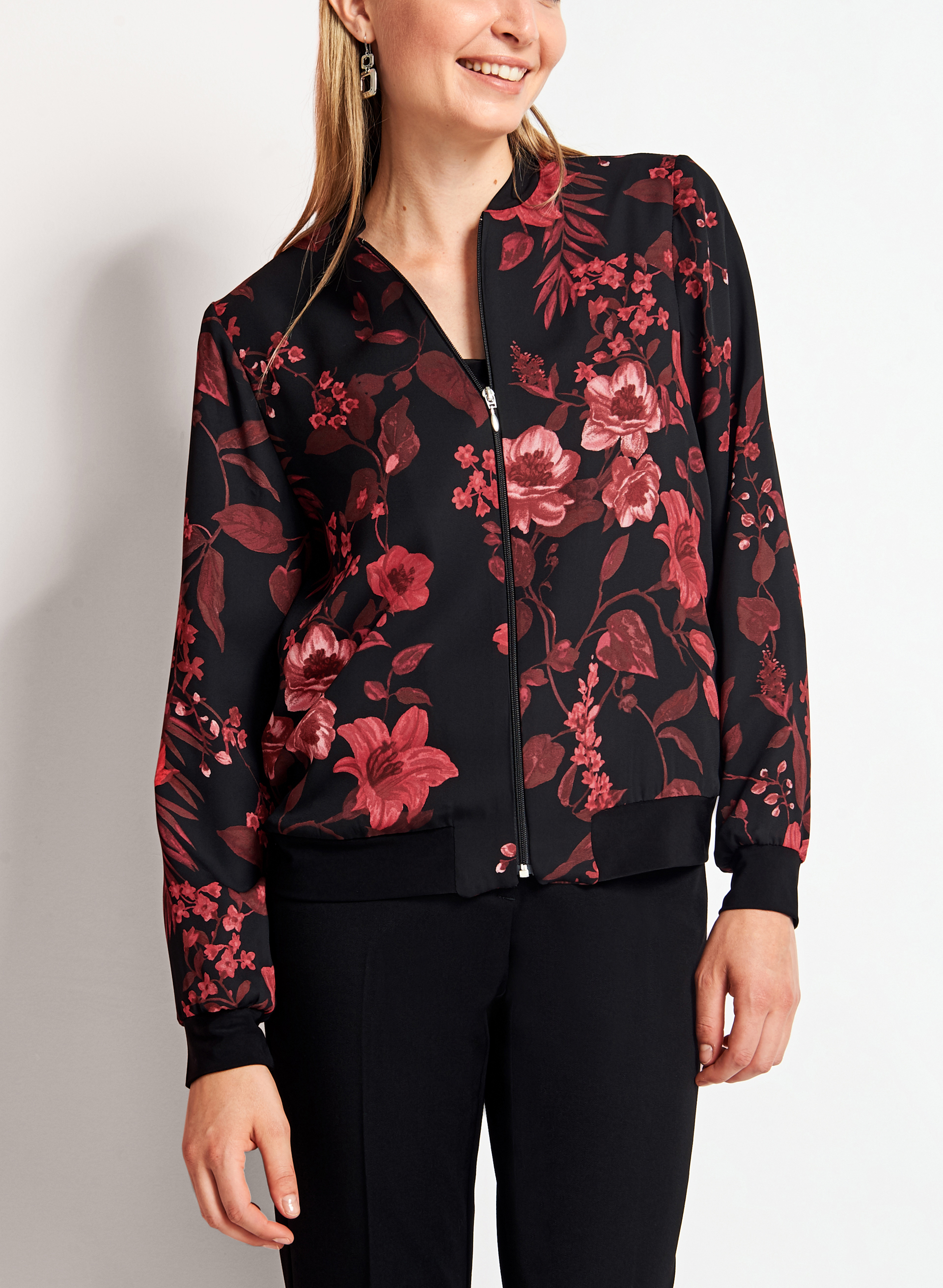 Floral Satin Bomber Jacket - Trending bomber jacket in glossy satin. Exquisite floral embroidery adds pops of color. Front slash welt accents. Rib-knit collar, cuffs .
