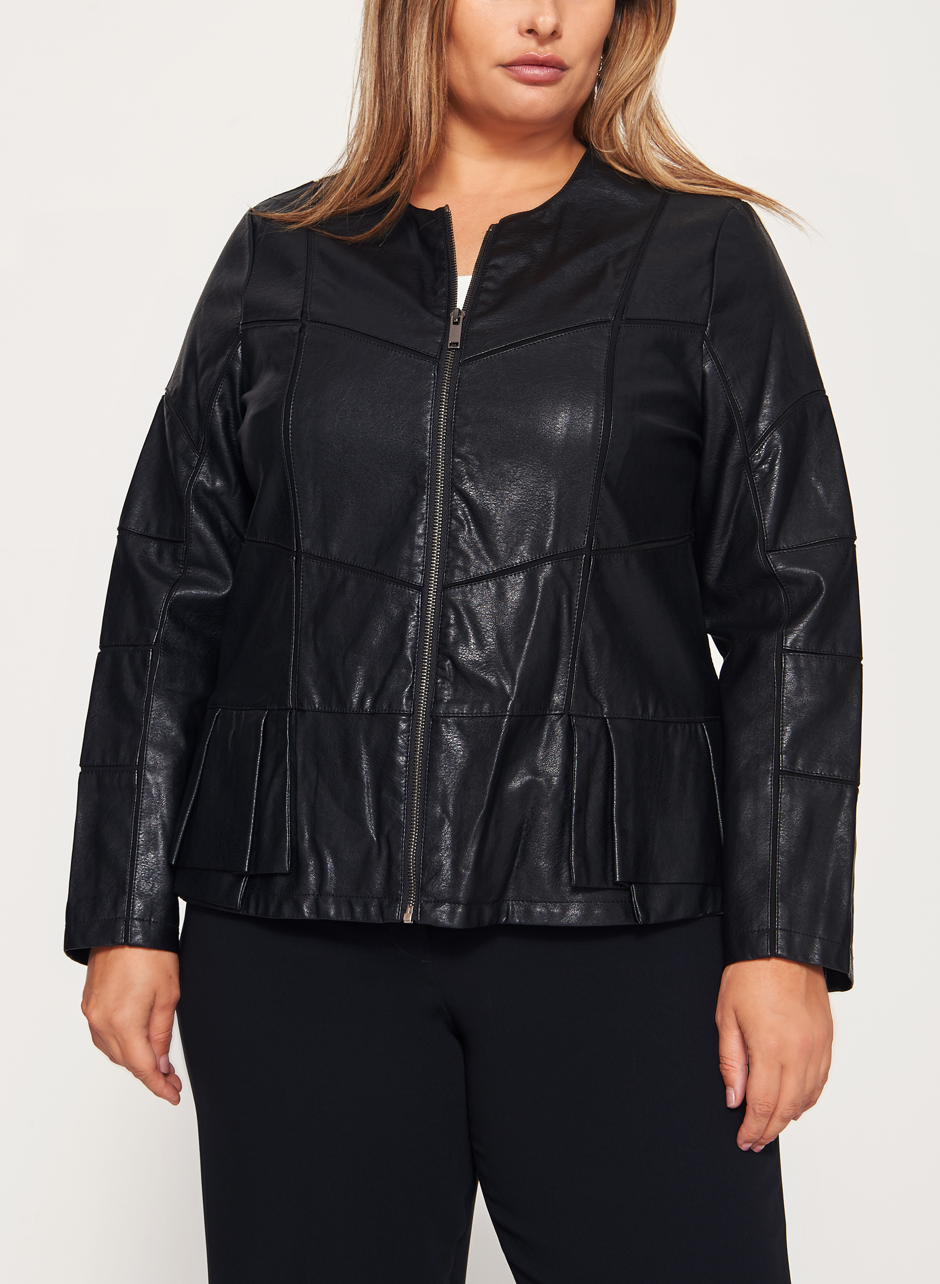 Peplum Detail Faux Leather Jacket | Laura