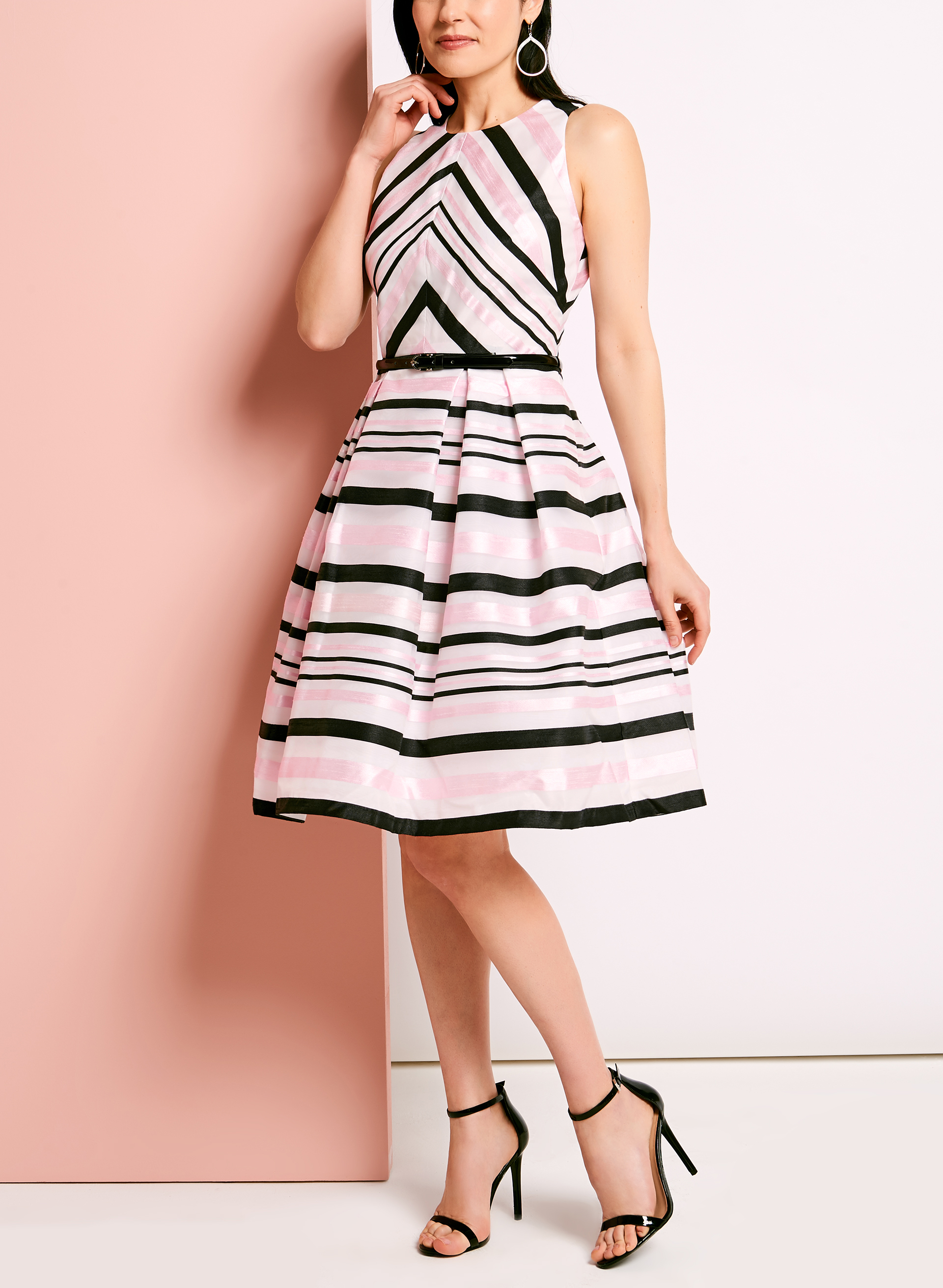 Stripe Print Organza Fit & Flare Dress, Black, hi-res