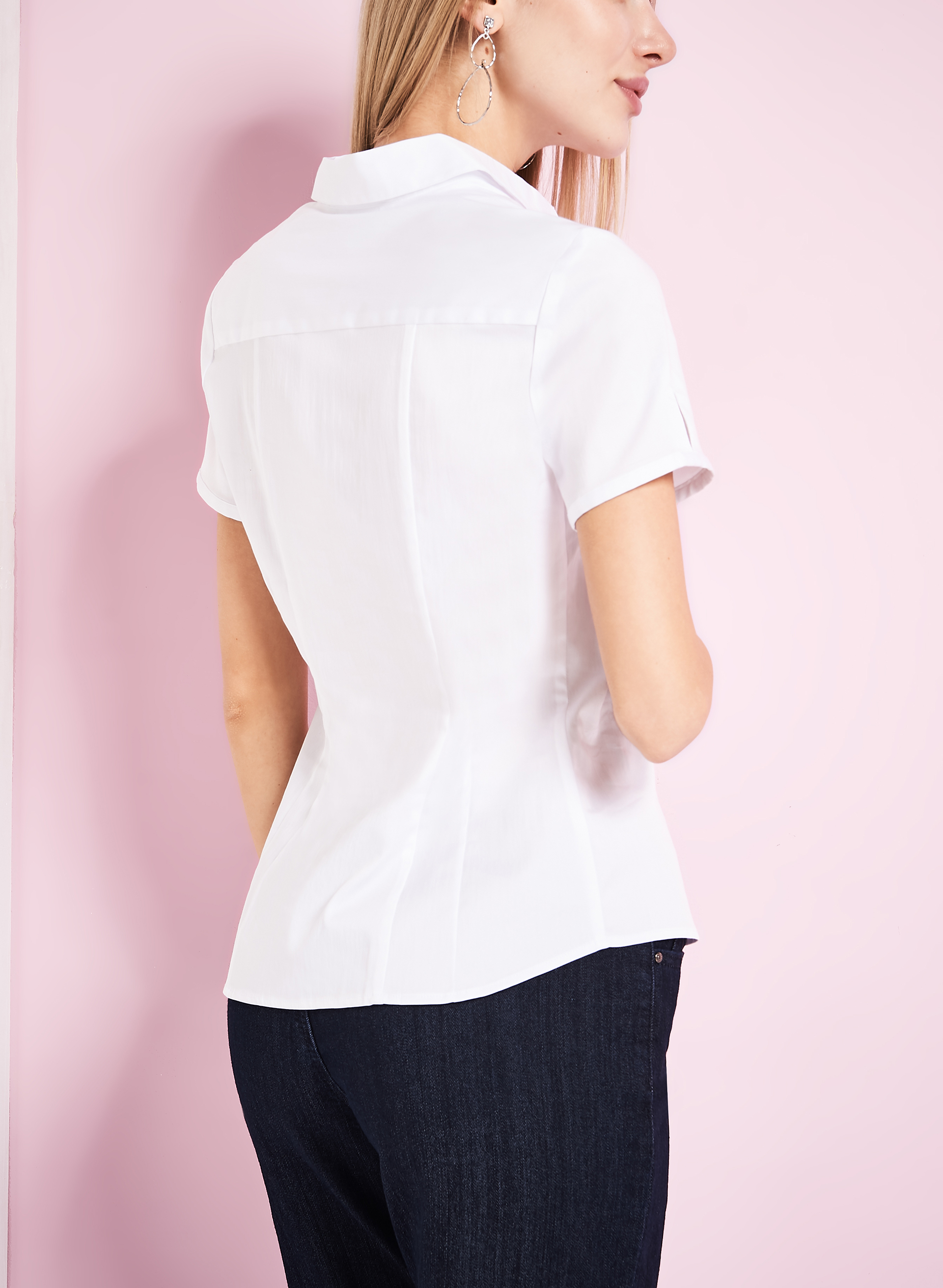 Short Sleeve White Blouse