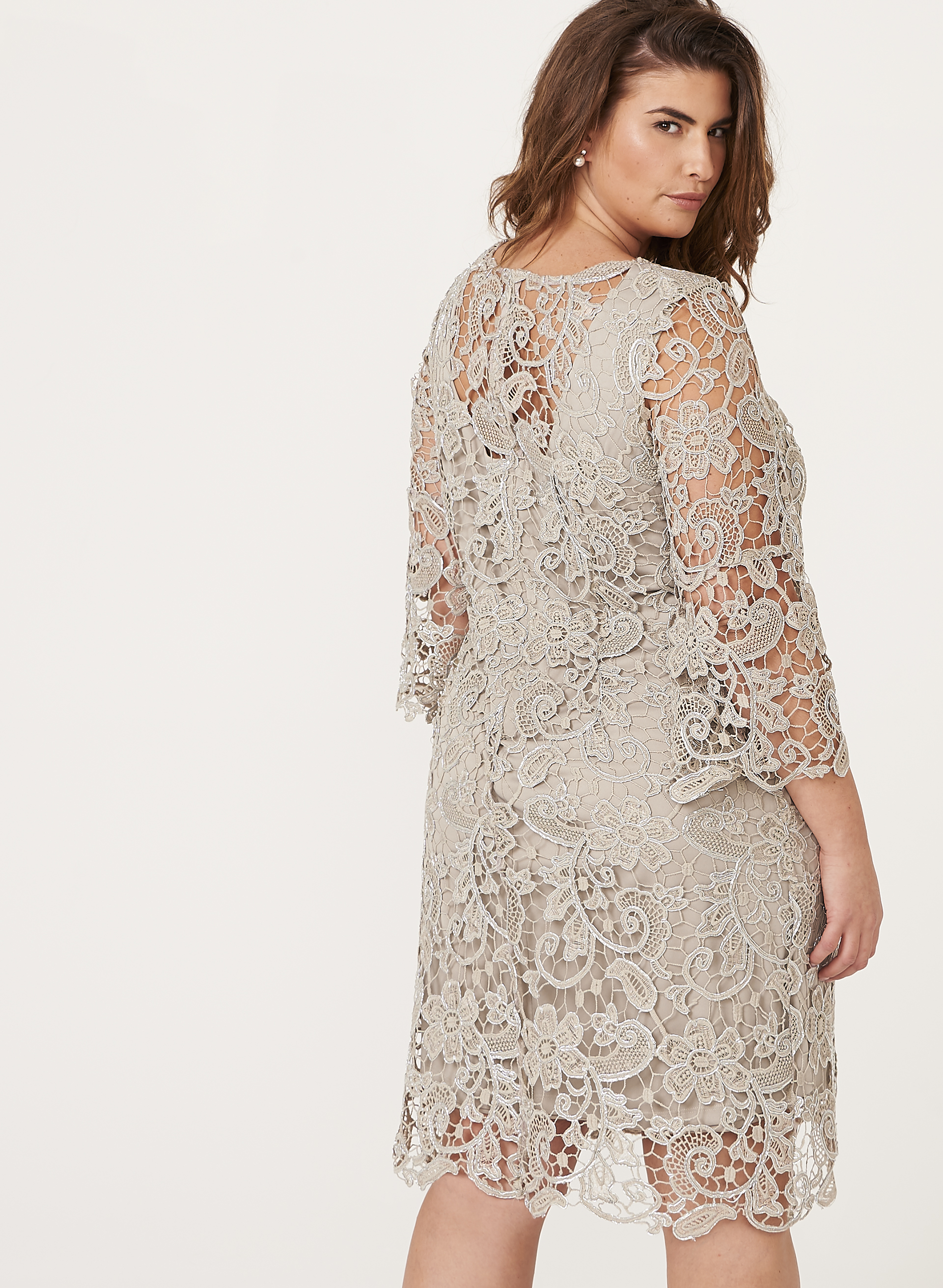 Metallic Lace Shift Dress | Laura