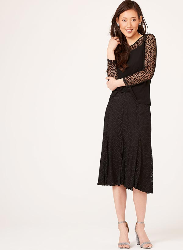 Chiffon Dot Print Skirt