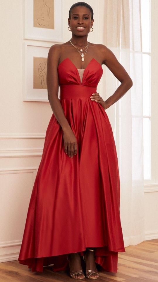 Strapless V-Neck Satin Ball Gown