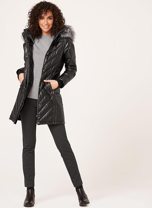 Quilted Faux Fur Trim Coat