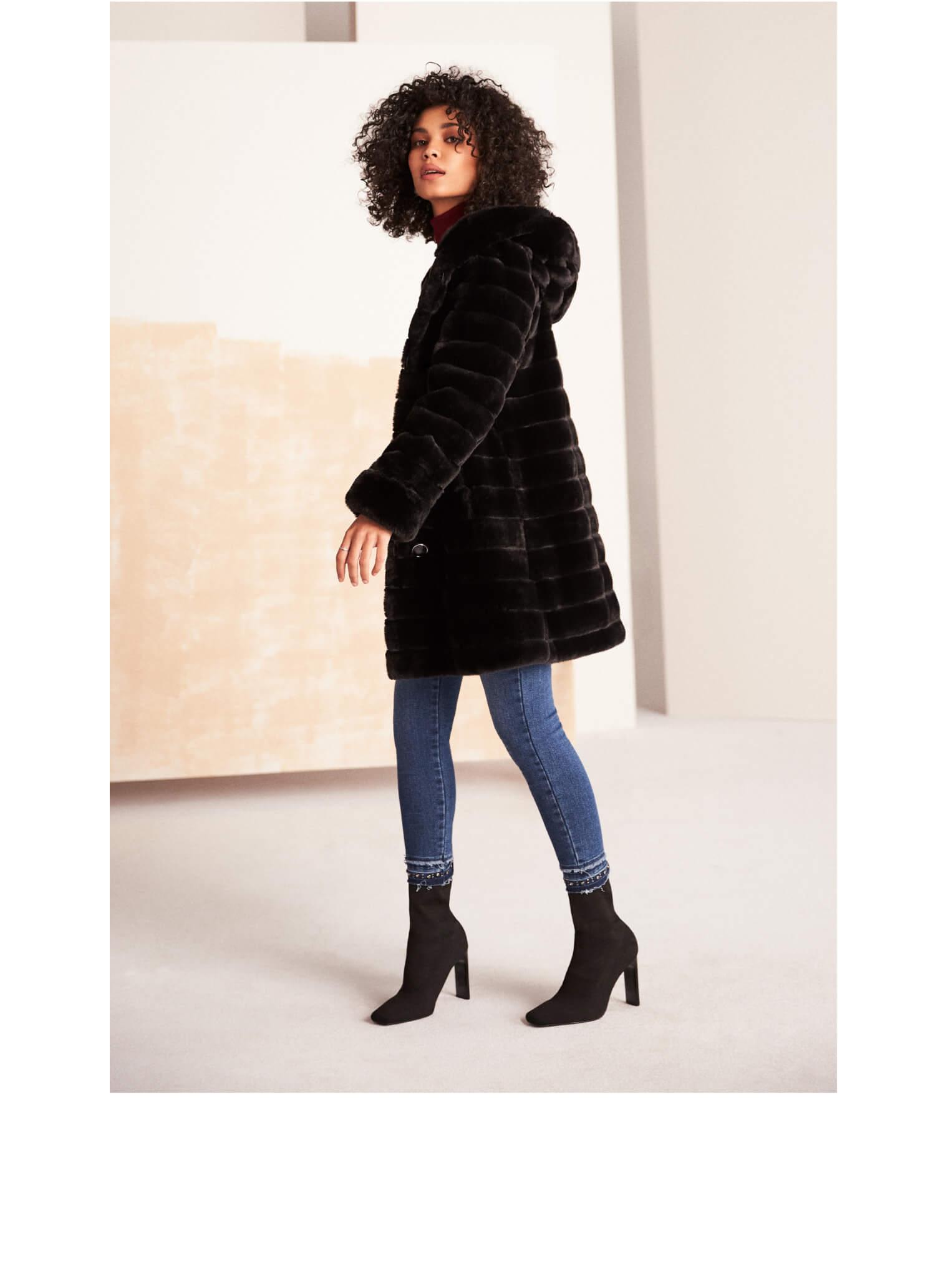 Manteau réversible en fausse fourrure