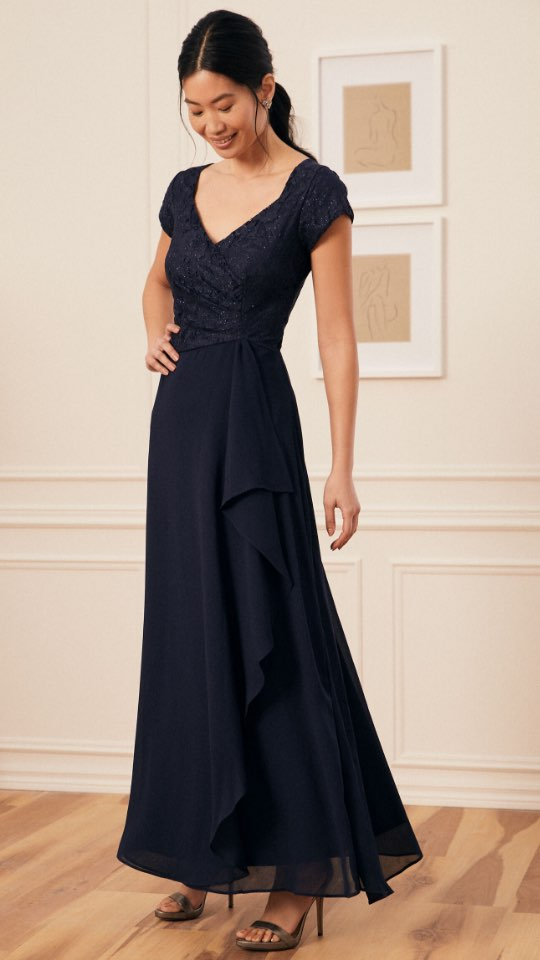 Glitter Lace Flounce Detail Dress