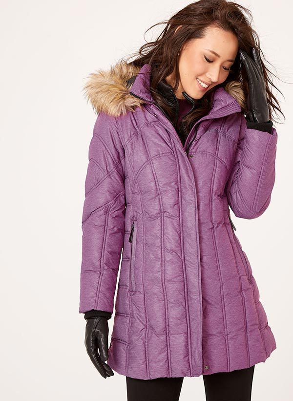 Removable Faux Fur Quilted Down Coat