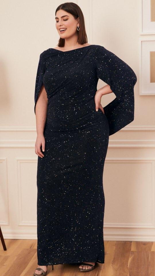Drape Style Glitter Knit Gown