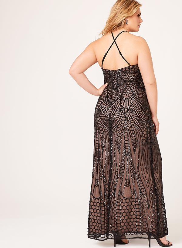 Sequin Embellished Halter Neck Gown