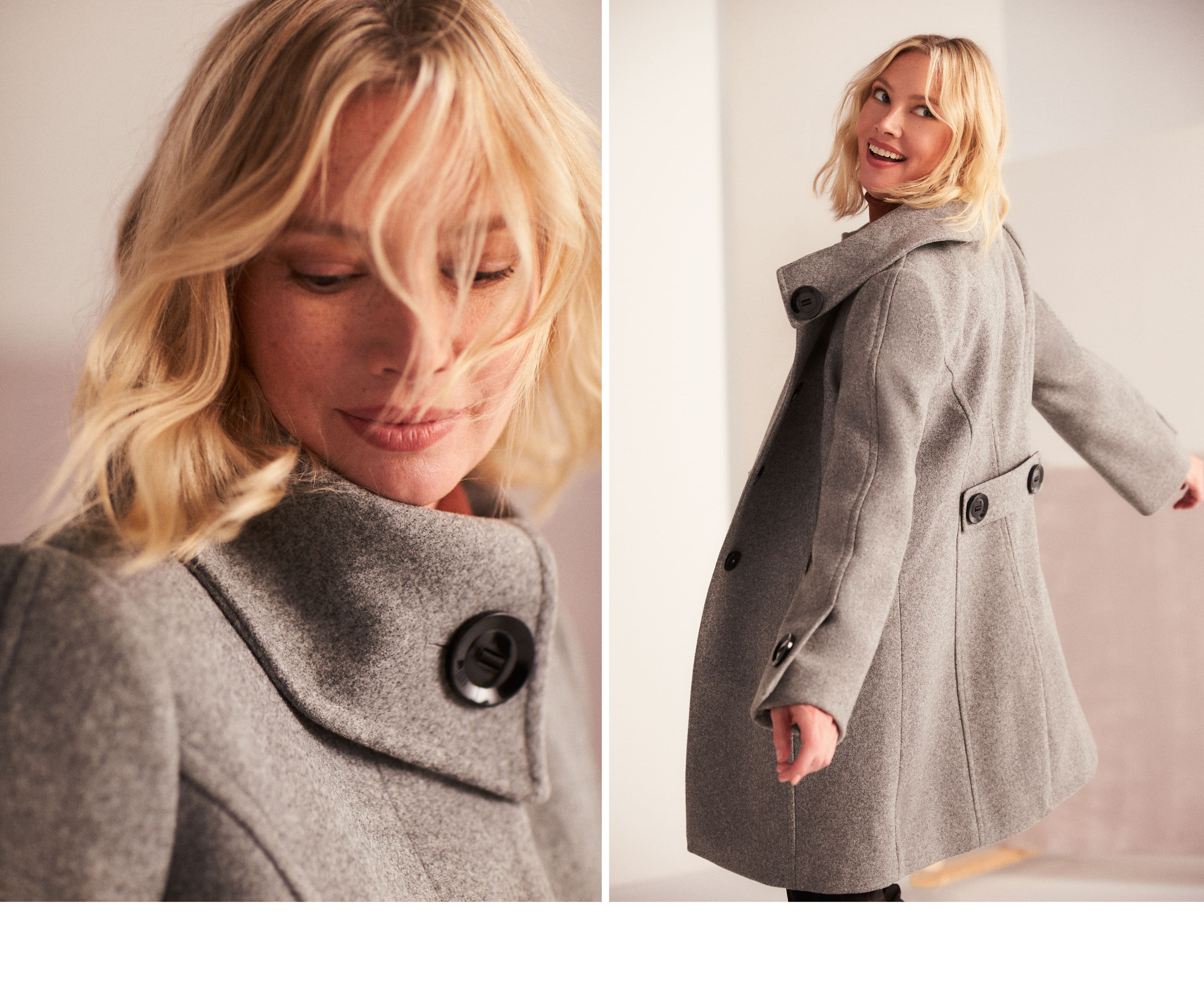 Wool-Like Envelope Collar Coat