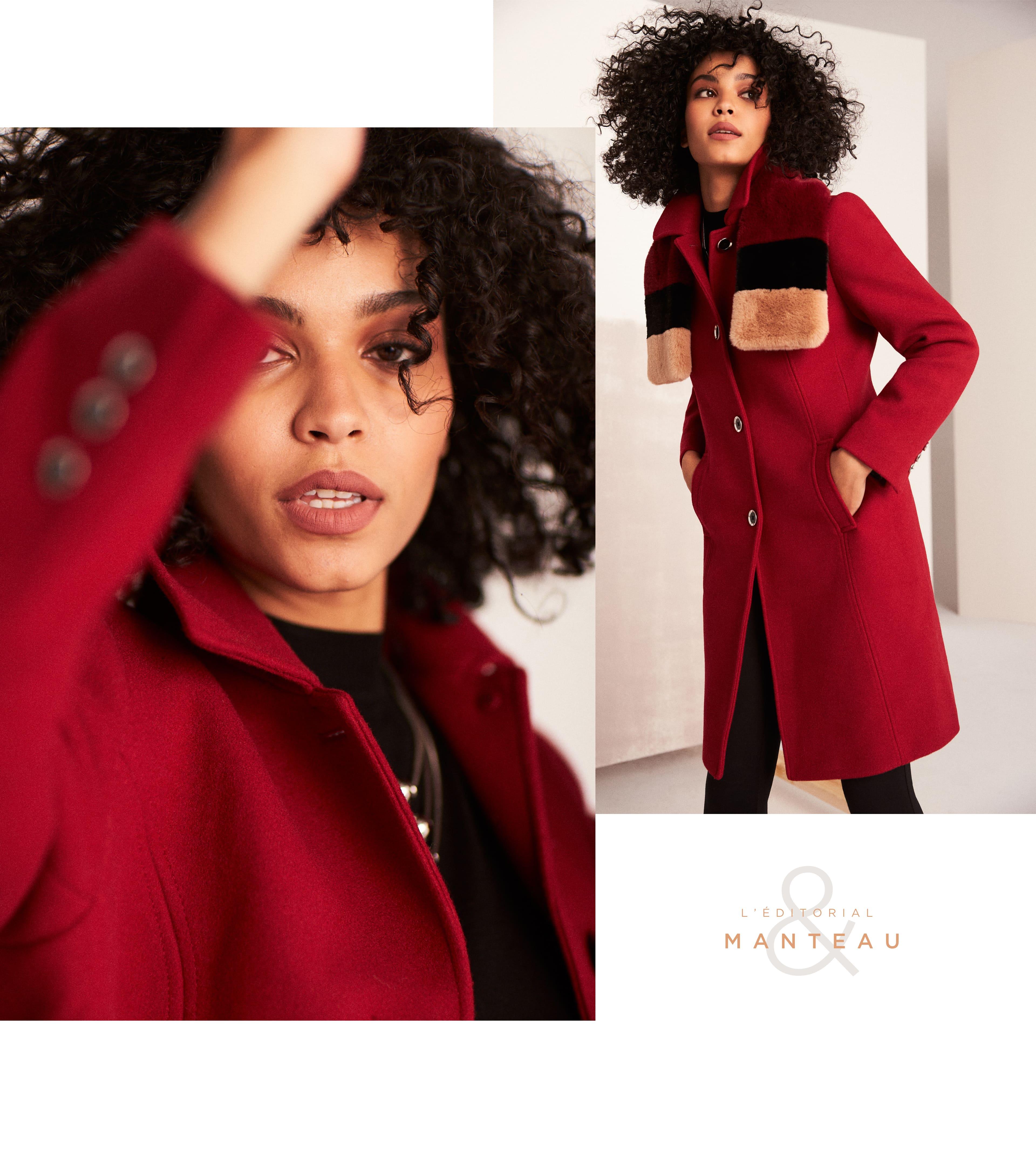 Manteau aspect laine à col chemisier