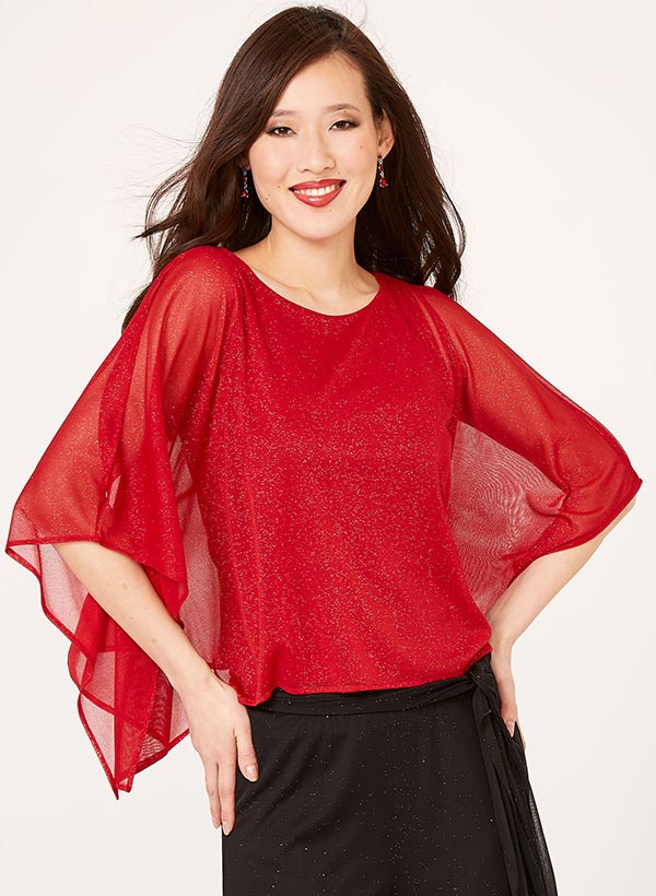 Cold Shoulder Glitter Poncho
