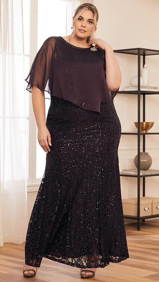 Sequin Lace Poncho Dress