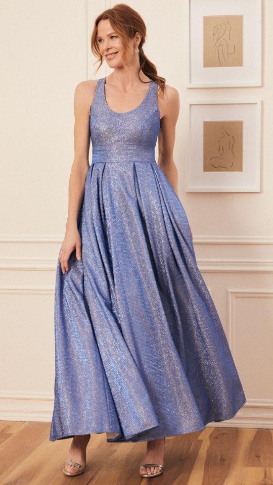 Sleeveless Metallic Pleated Gown