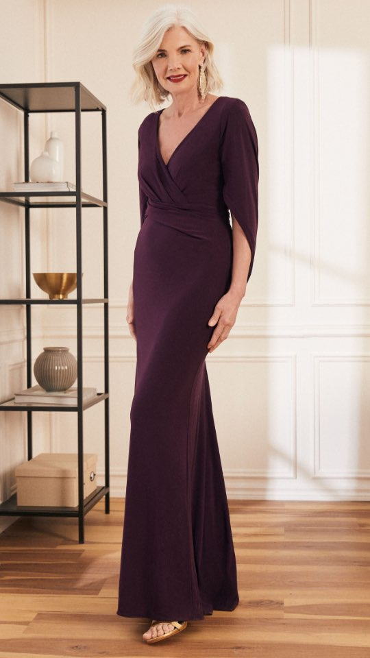 Cowl Sleeve V-Neck Gown