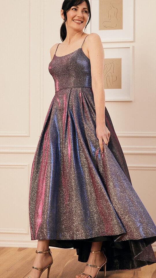 Metallic Glitter Ball Gown