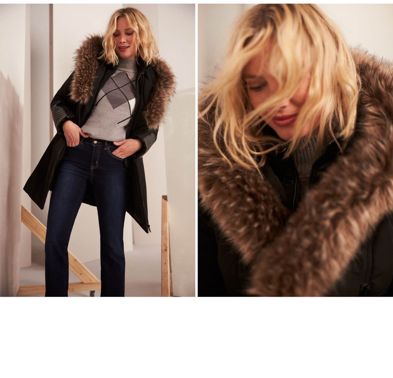 Manteau à fausse fourrure et similicuir