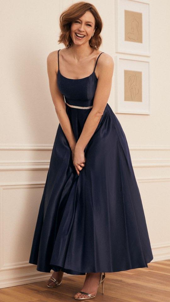 Rhinestone Detail Satin Ball Gown