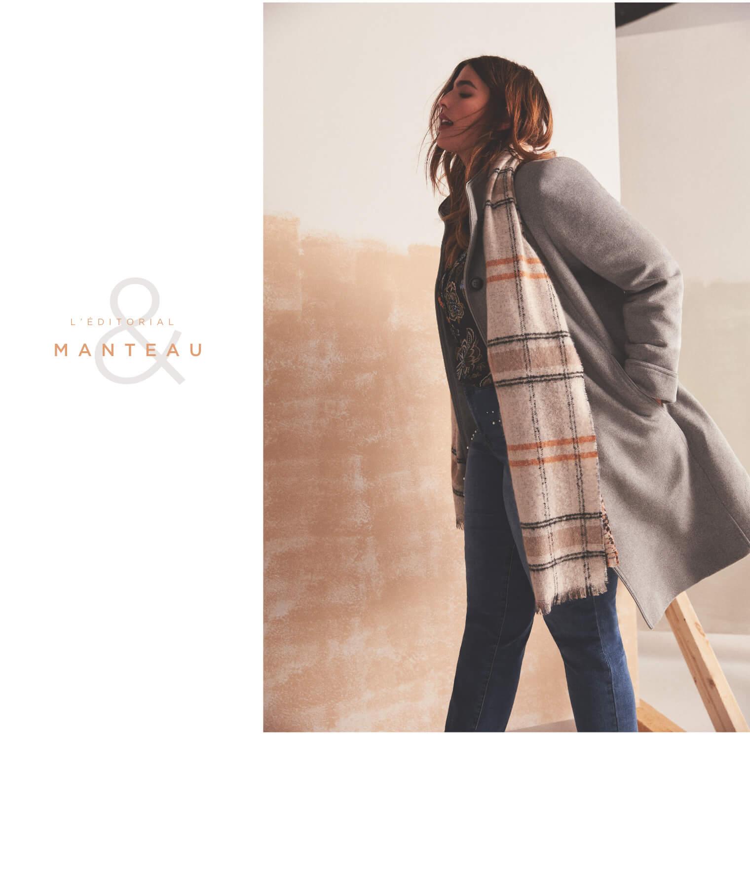 Manteau boutonné en laine mélangée