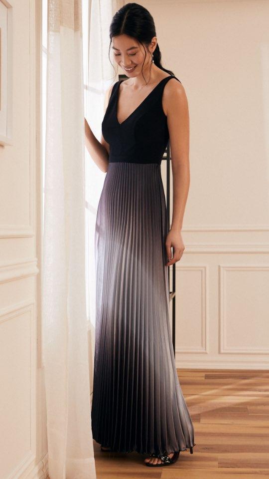 Pleated Ombré Skirt Evening Dress